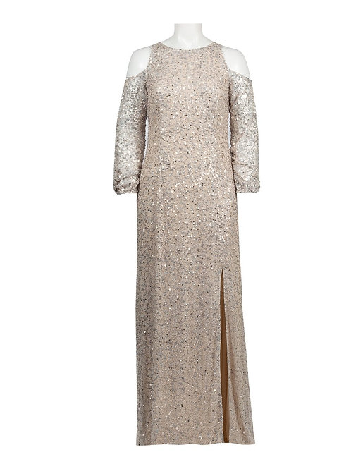Adrianna Papell Cold Shoulder Sequin Evening Gown