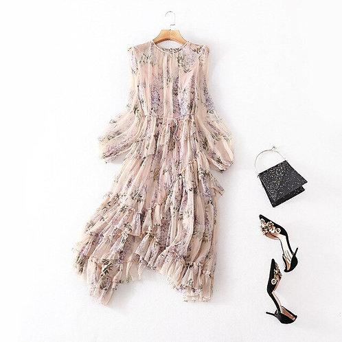 100% Natural Silk Dress -FLORAL