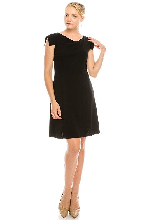 BeBe Black Cowl Neck Rectangular Cap Sleeved Dress