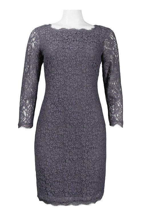 Adrianna Papell Long Sleeve Back Zipper Lace Sheath Dress