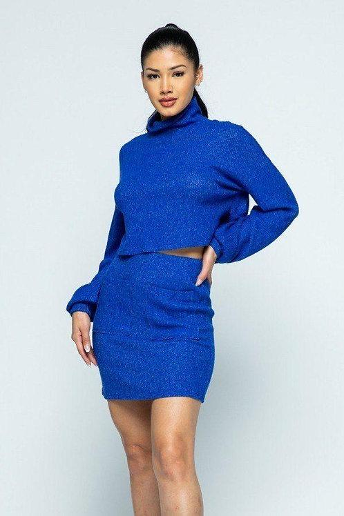 Brushed Knit Mock Neck Drop Shoulder Top With Front Pocket Mini Skirt