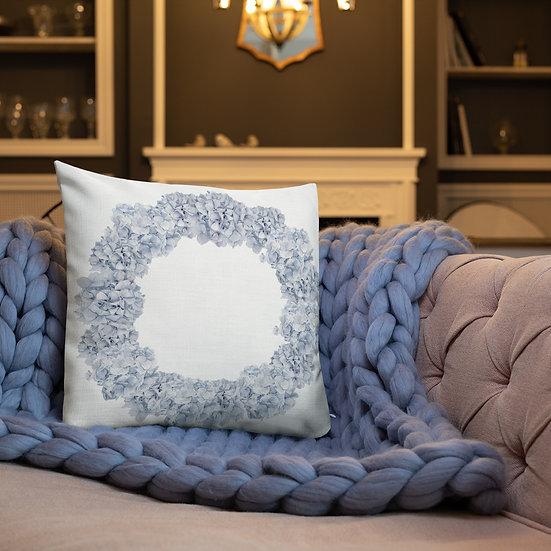 "Hydrangea Wreath ""2 Designs"" Premium Pillow"