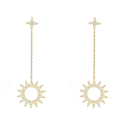 Sun Day and Night Drop Earrings Gold