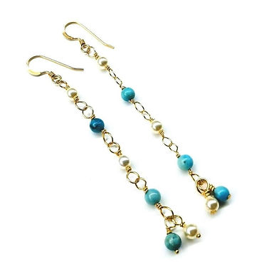 14 KT Gold Filled Wire Wrapped Long Turquoise Pearl Dangle Earrings