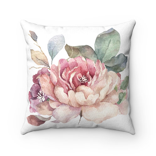 Leia Bloom Faux Suede Square Pillow