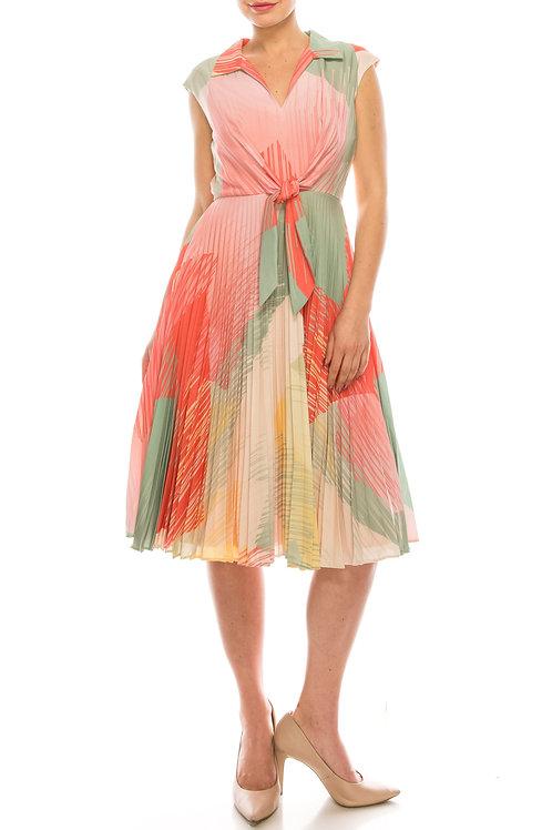 Maison Tara Sage Multi Collared Pleaded Circle Skirt Dress with Waist