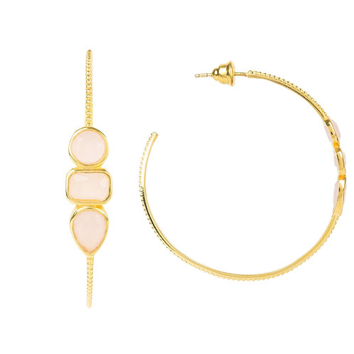 Venice Gemstone Hoop Earring Gold Rose Quartz