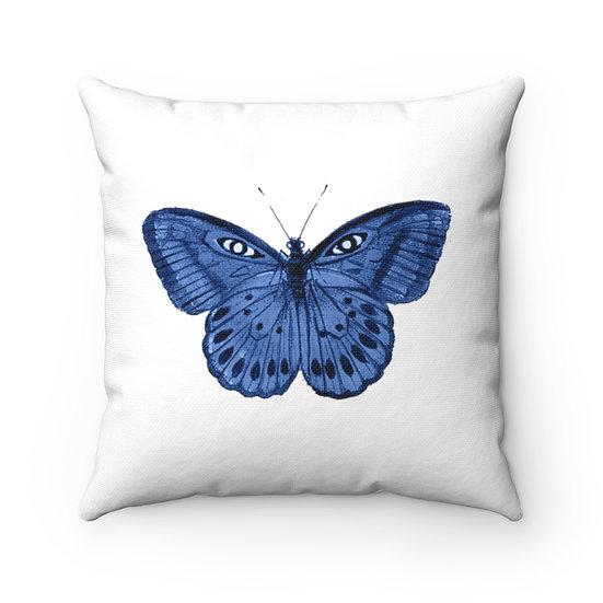 Blue Rose Garden Spun Polyester Square Pillow