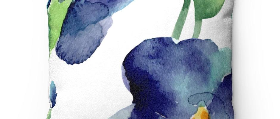 Blue Petunia Faux Suede Square Pillow