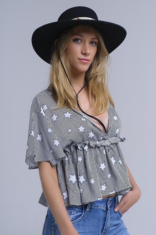 Black Top With Stars and Ruffle