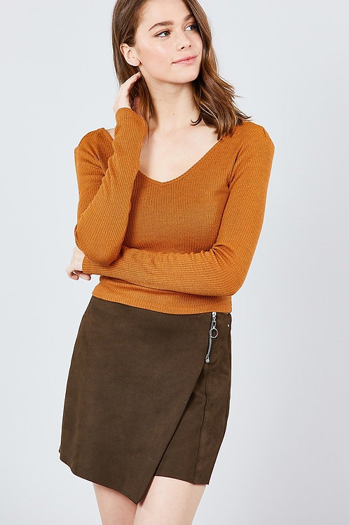 Rust Wide v-neck Rib Knit Top