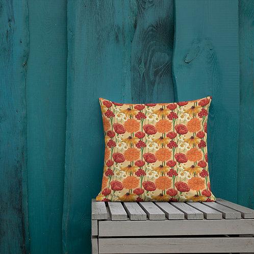 Orange Floral Premium Pillows