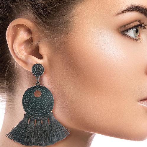 Black Metal Tassel Earrings