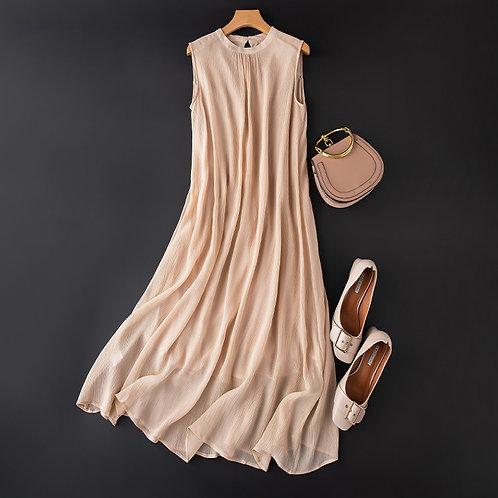 100% Pure Silk Crinkle Silk Sleeveless Cotton Lining Dress