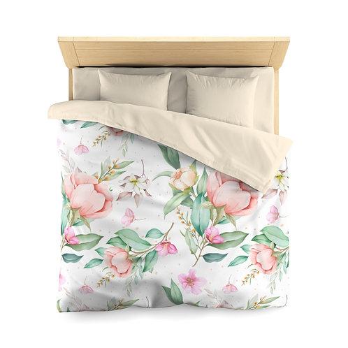 Blush Rose Garden Microfiber Duvet Cover