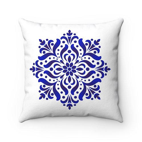 Blue Dutch Spun Polyester Square Pillow