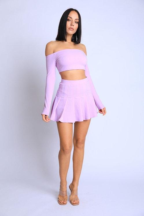 2 Pc Off Shoulder Skater Skirt Matching Set