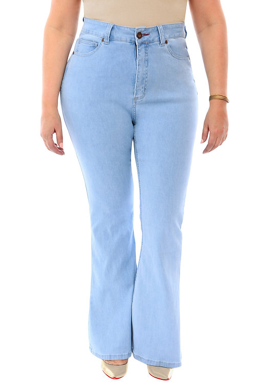 360 Stretch High Rise Flea Market Flare Jeans in Sky Bleach Blue