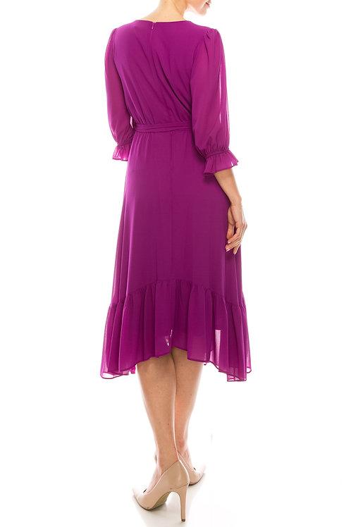 Maison Tara Ruffle 3/4 Sleeve Button V-neck A-Line Dress