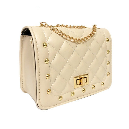 Beige Leather Quilted Stud Crossbody