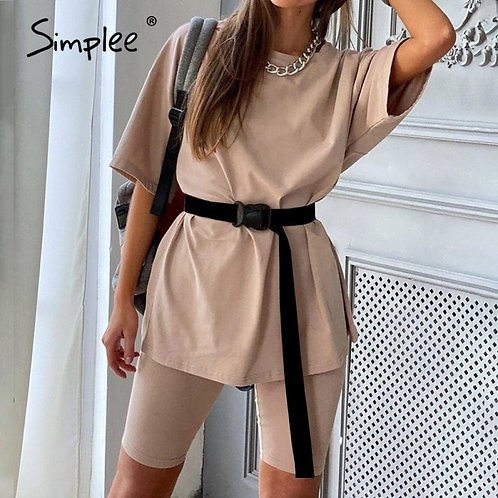 Casual Solid Two Piece Suit With Belt