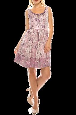 Adrianna Pappell Purple Multi Floral Jacqaurd A-Line Party Dress