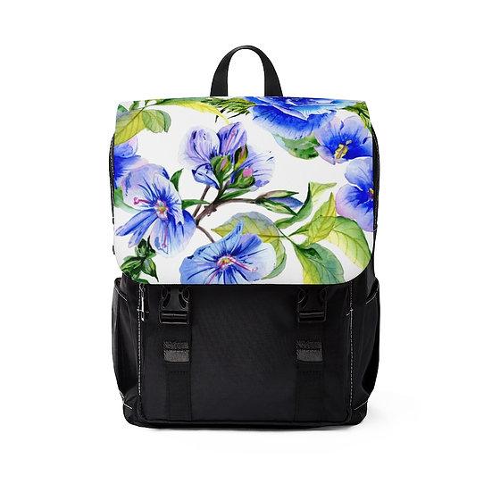Blue Floral Casual Shoulder Backpack