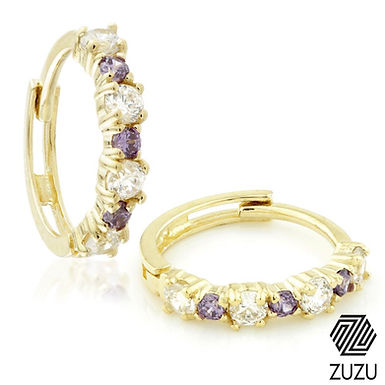 9ct Gold CZ & Amethyst Colour Cartilage Huggie Earring
