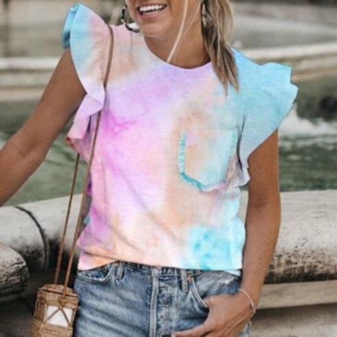 Elegant O-Neck Women Shirt Blouse Summer Rainbow Tie-Dye Print Shirts