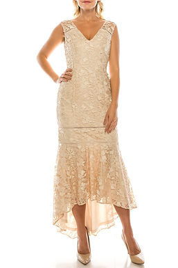 Adrianna Papell Lace Evening Dress with Mermaid Skirt
