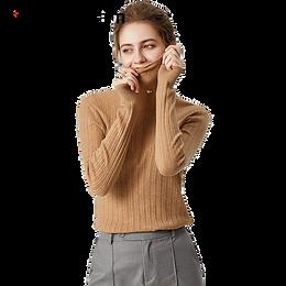 100% Wool Turtleneck Ribbed Sweater