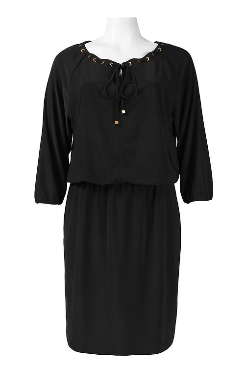 Nine West Drawsting Neckline 3/4 Sleeve Blouson Jersey Dress