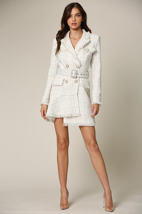 Caeli - A tweed blazer dress featuring metallic gold plaid detailing