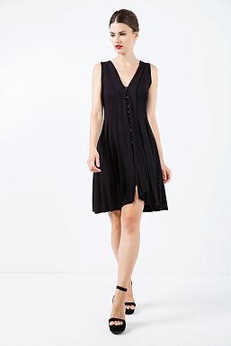 A Line Sleeveless Black Jersey Dress
