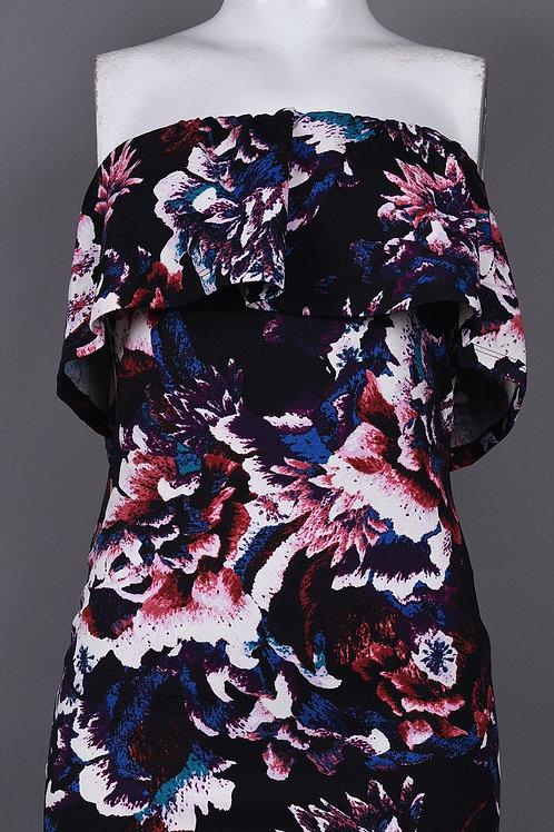 Bebe Off Shoulder Multi Floral Overlay Sheath Dress