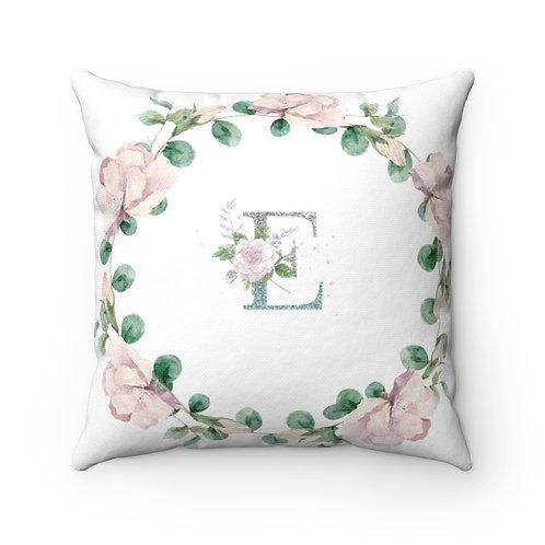 """E"" Pink Wreath Spun Polyester Square Pillow"