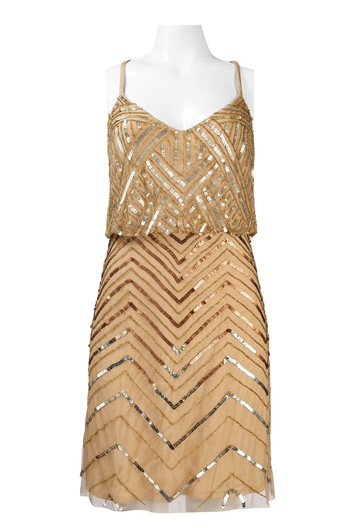 Adrianna Papell Crossed Strap Sequined Chevron Pattern Mesh Cocktail