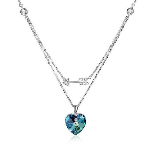 Bermuda Blue Swarovski Crystals Sterling Silver Pave Double Layer