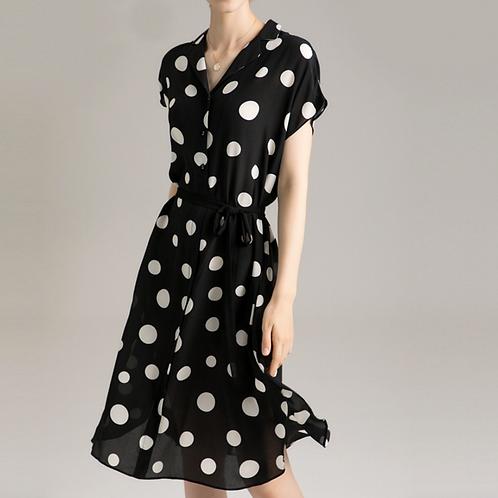 Silviye Black and white polka dot floral silk dress mulberry silk
