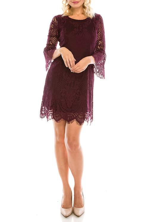 Bebe Plum Lace A-Line Dress with Open Back