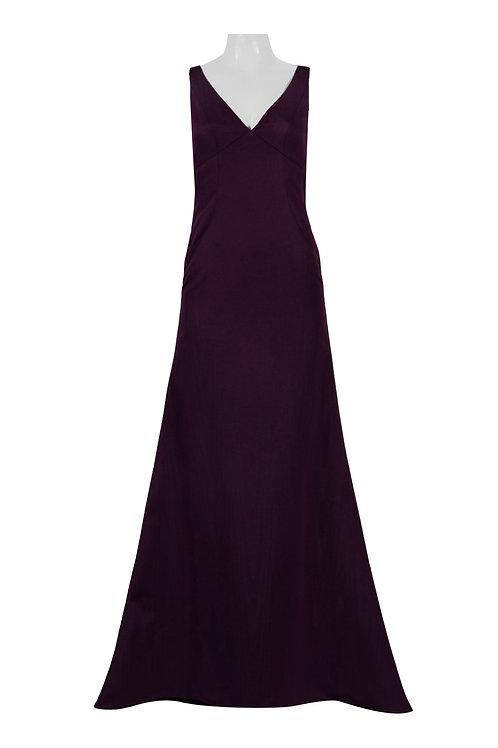 Adrianna Papell V-Neck Sleeveless Zipper Back Solid Moire Dress