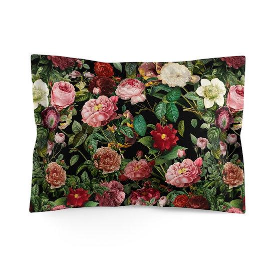Lovely English Garden (on Black) Microfiber Pillow Sham