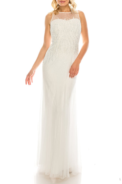 Adrianna Papell Ivory Illusion Sheath Gown with Heavily Beaded Bodice