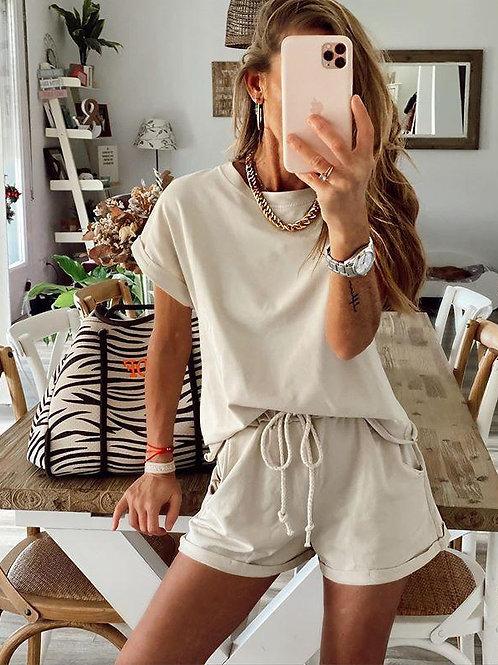 Casual Women Set Short Sleeve Top Shirt and Loose Mini Shorts