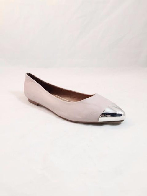 TIPPER -Silver Toes Slip on Flat Pumps