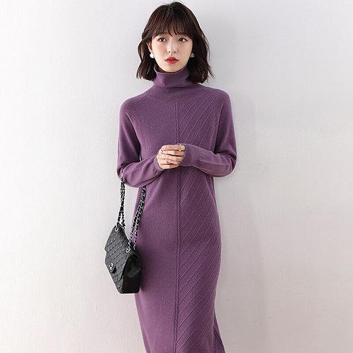 Women Fashion sweater 100% Wool Knitted Turtleneck Sweater Longer