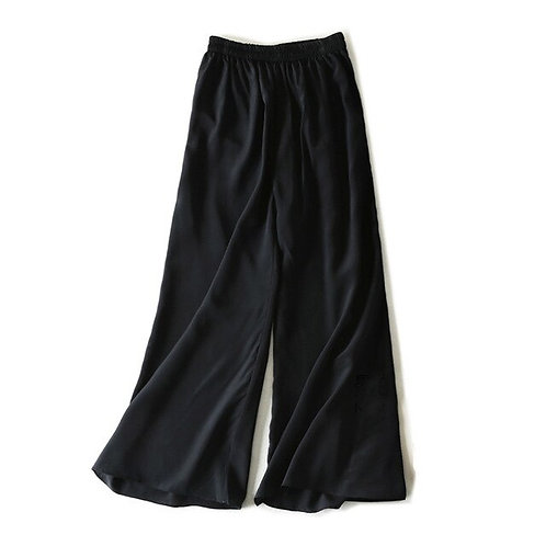 Wide Leg Pants 100%Real Silk Solid Elastic Waisted Pants