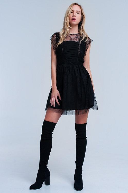 Black Midi Dress With Lace