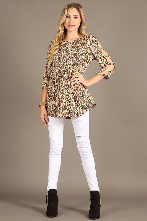 Leopard print top with a round neckline and cutout 3/4 sleeves.1231