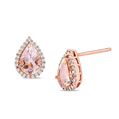 1.00 CT Morganite Pear Cut Stud Earring in 18K Rose Gold Plated